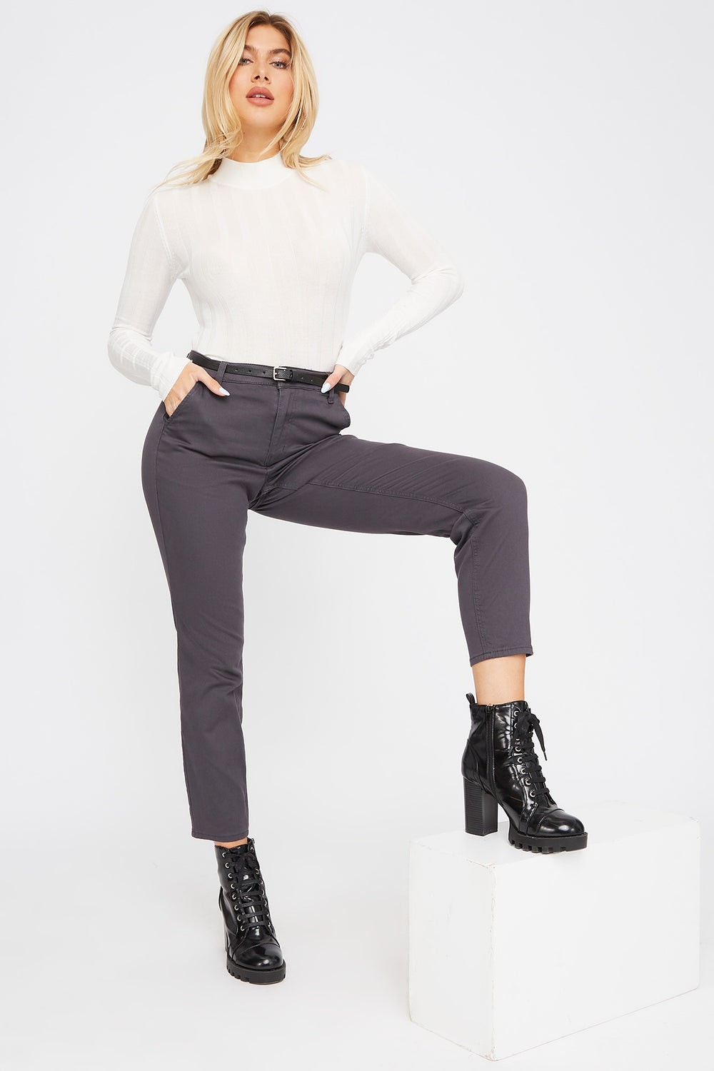 Cropped Belted Chino Pant Dark Grey