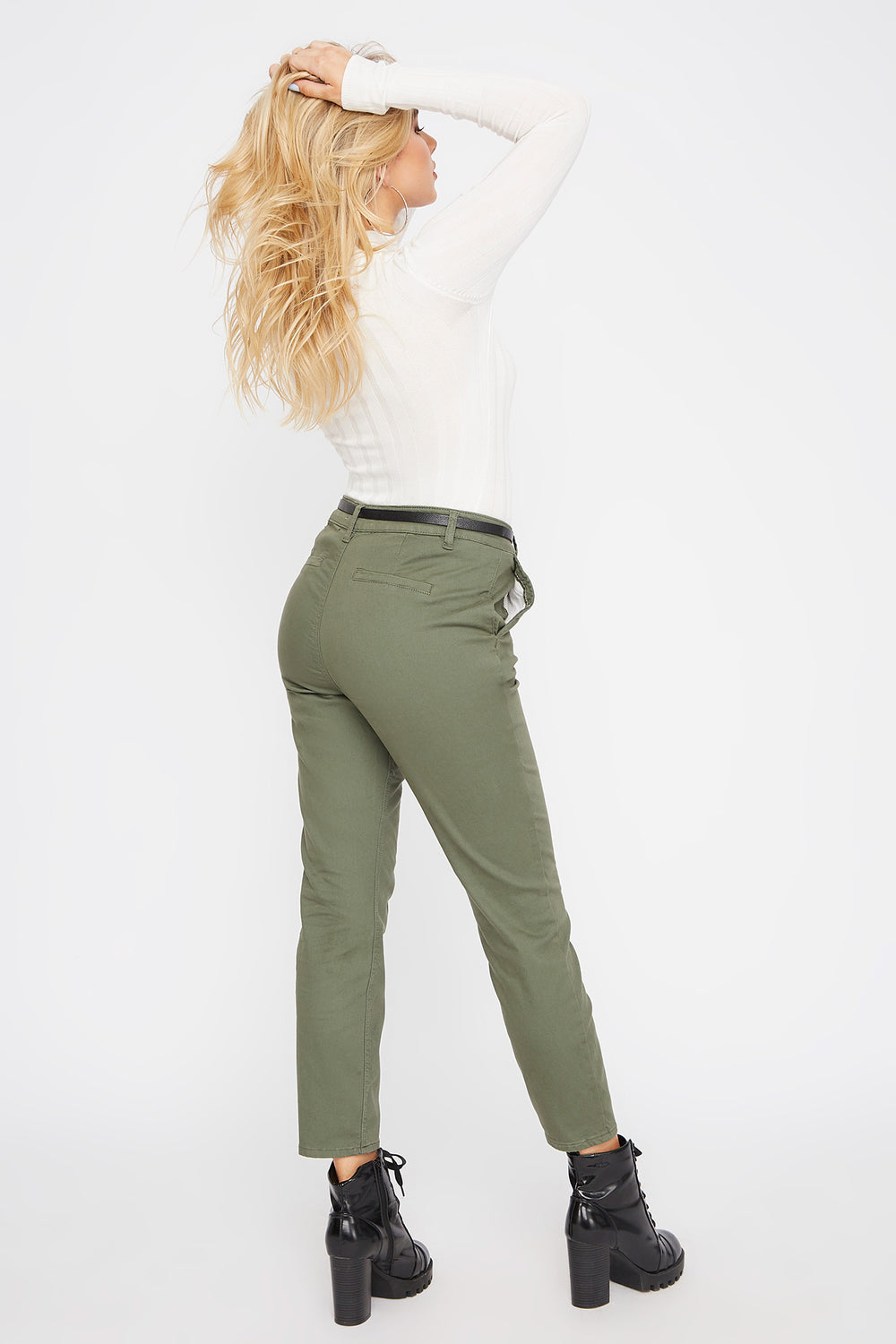 Cropped Belted Chino Pant Dark Green