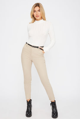 Cropped Belted Chino Pant