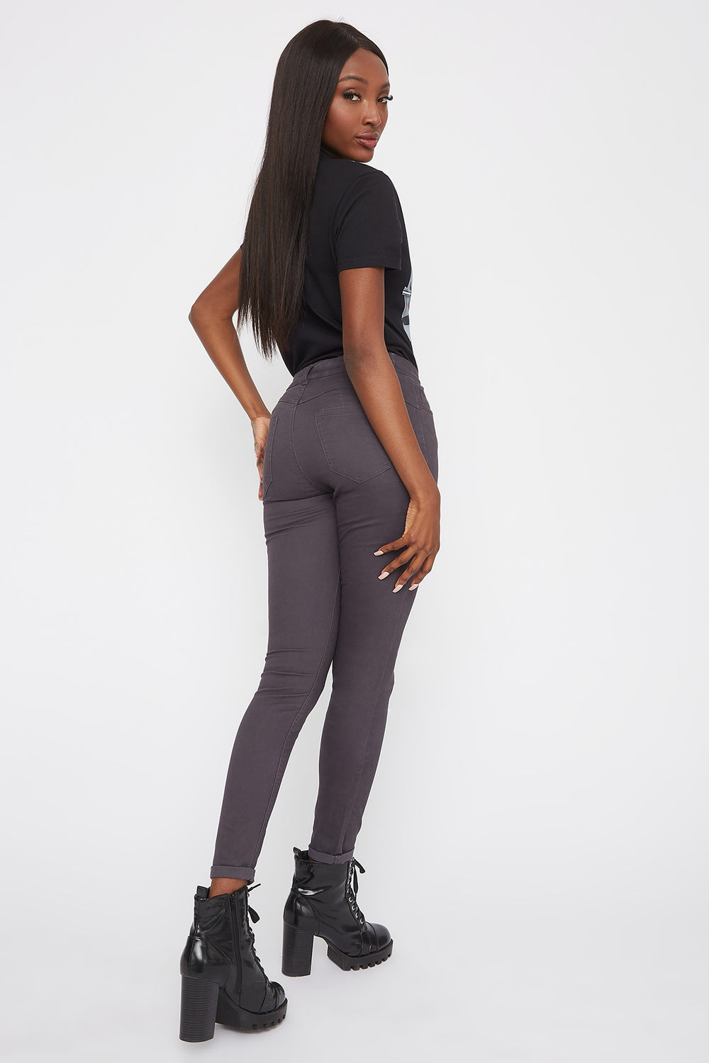 Mid-Rise Push-Up Skinny Jean Dark Grey