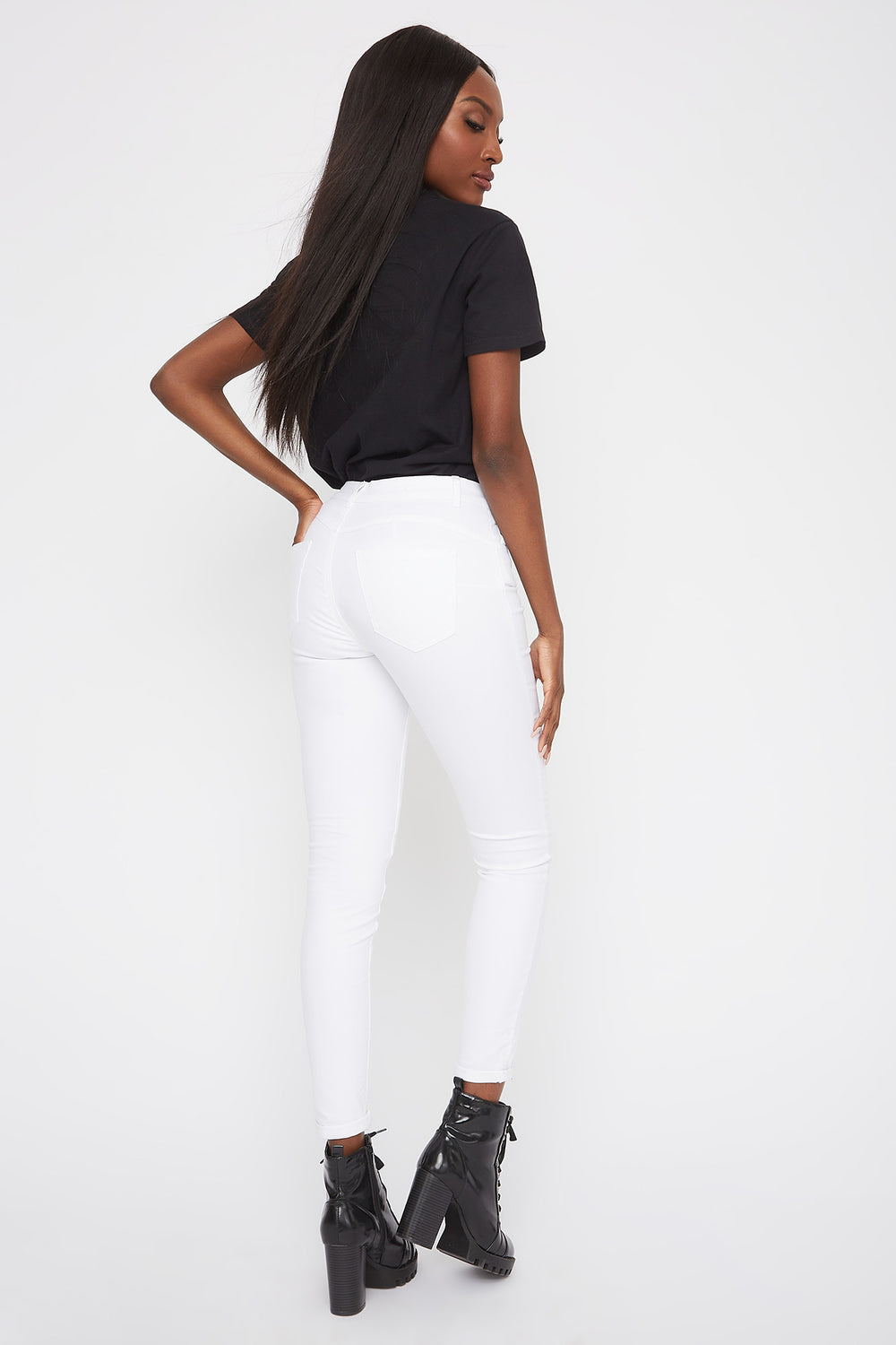 Mid-Rise Push-Up Skinny Jean White