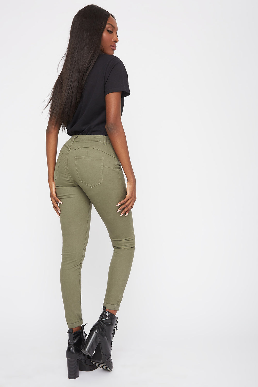 Mid-Rise Push-Up Skinny Jean Dark Green