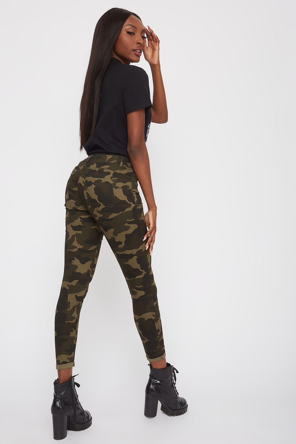 Mid-Rise Push-Up Skinny Jean Camouflage