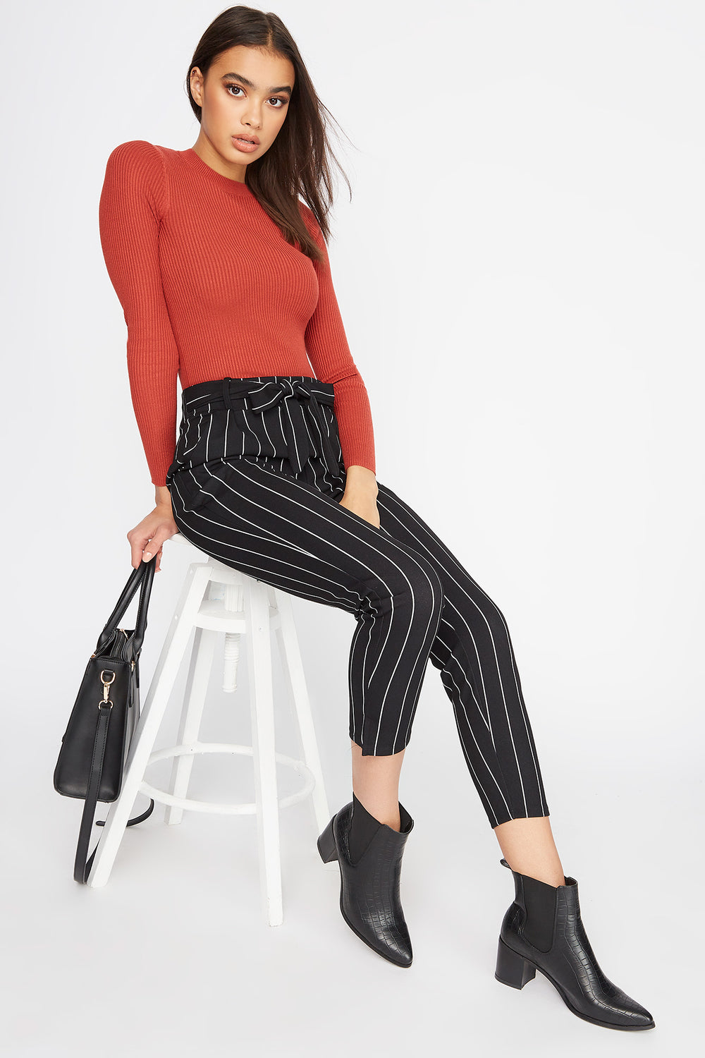 Front Tie Pant Black With White