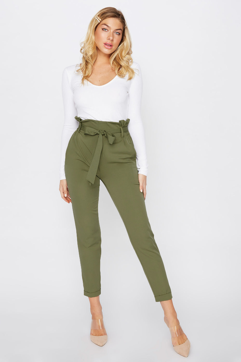 Cuffed Self Belted Paperbag Pant Jade