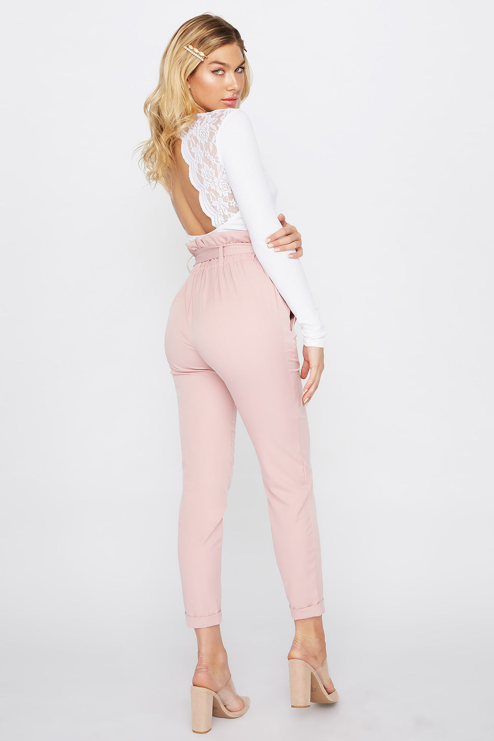 Cuffed Self Belted Paperbag Pant Light Pink