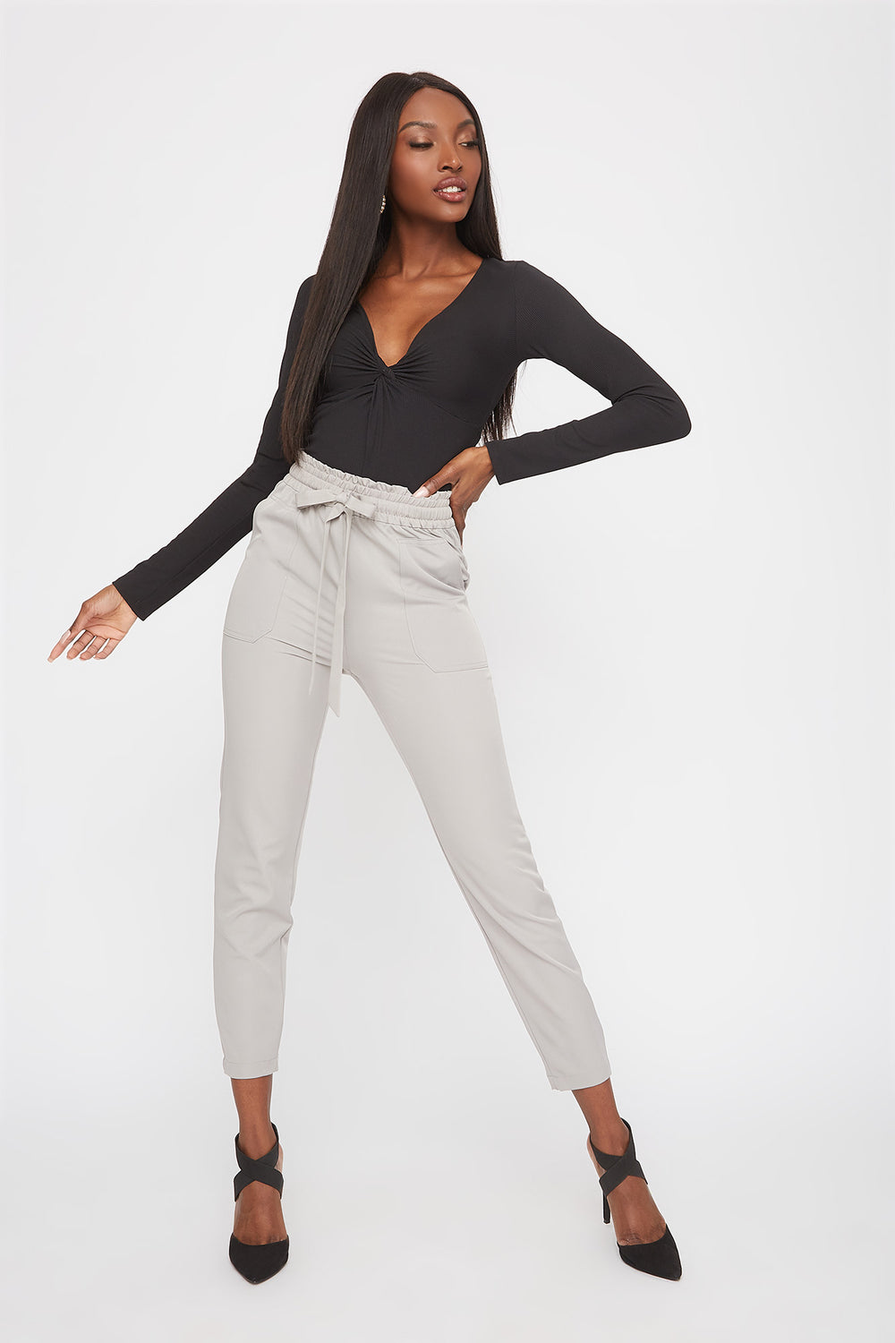 Drawstring Ruffle Waist Pant Light Grey