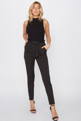 Buckle Belted Paperbag Pant
