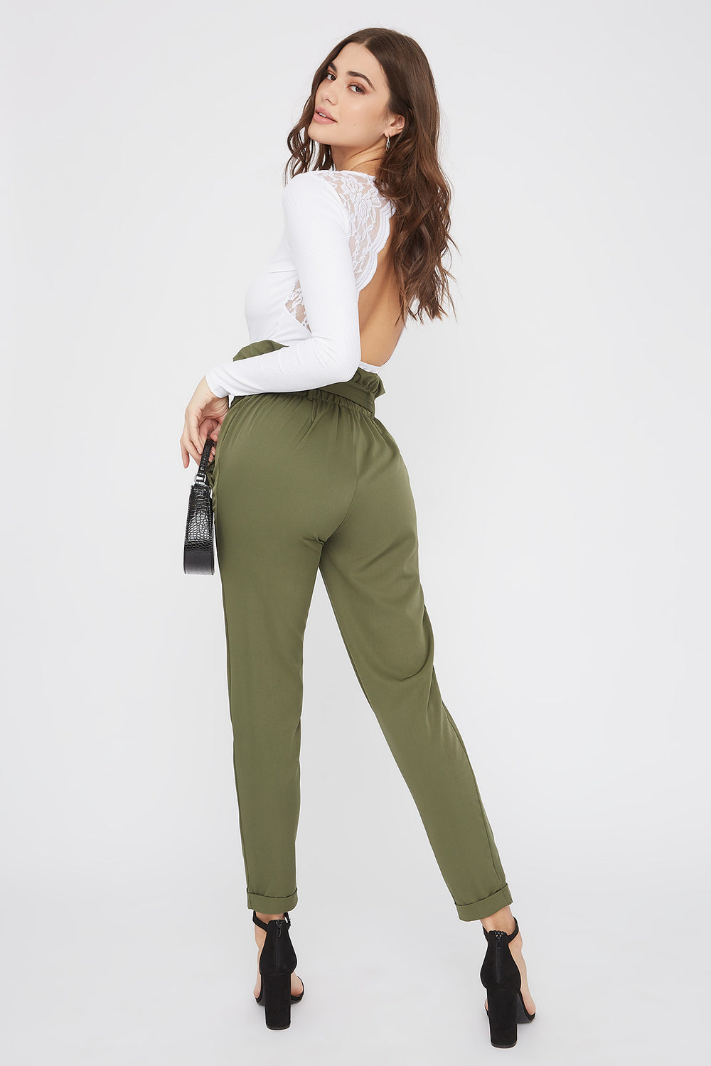Self Belted Pull-On Paperbag Pant Dark Green