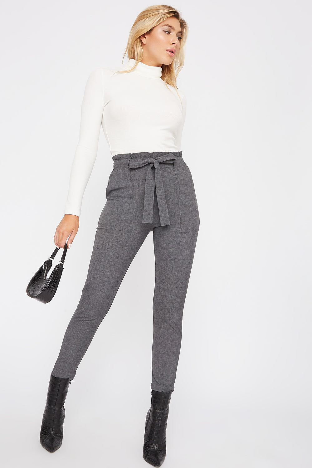 Belted Paperbag Cropped Pant Charcoal