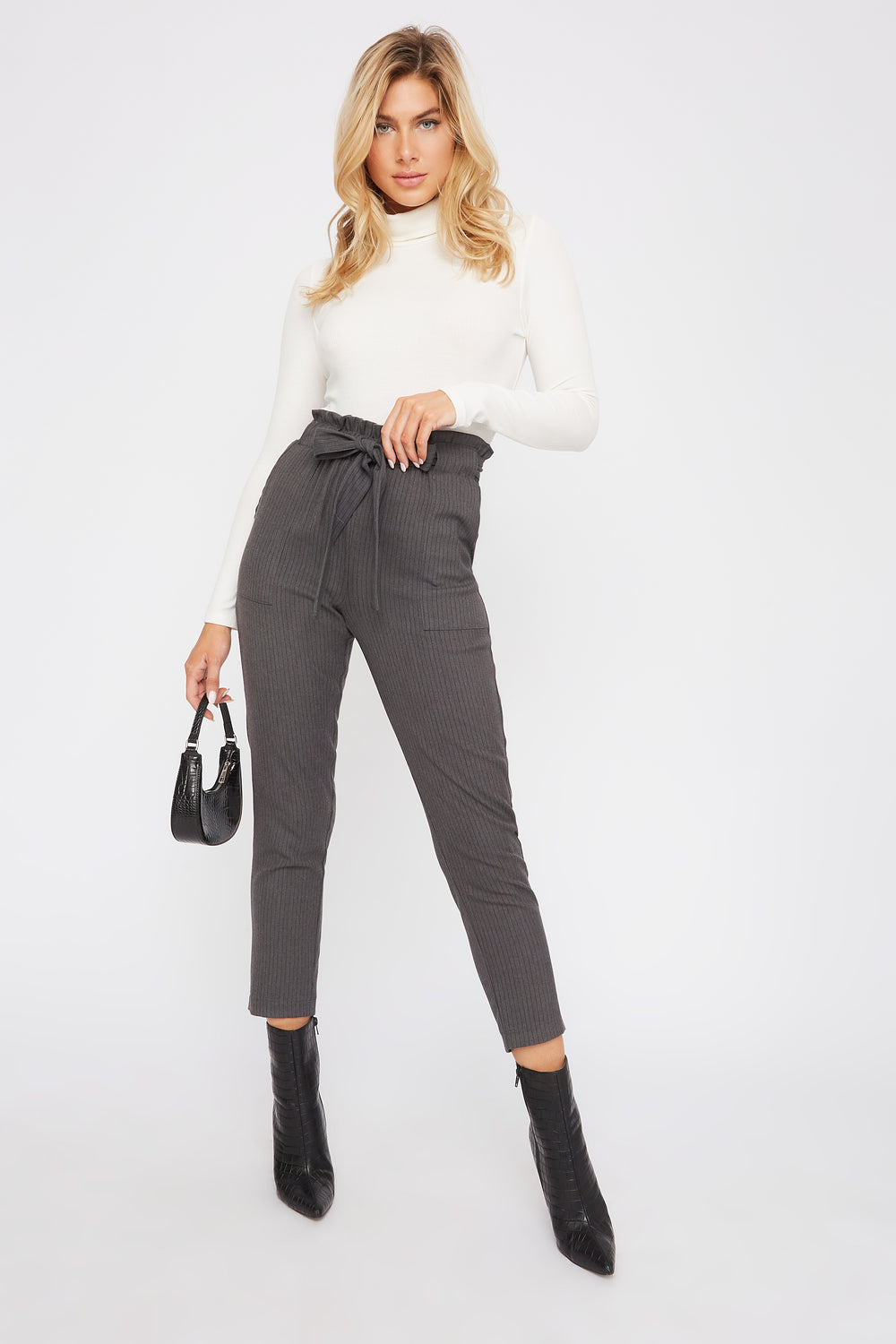 Belted Paperbag Cropped Pant Grey Blue
