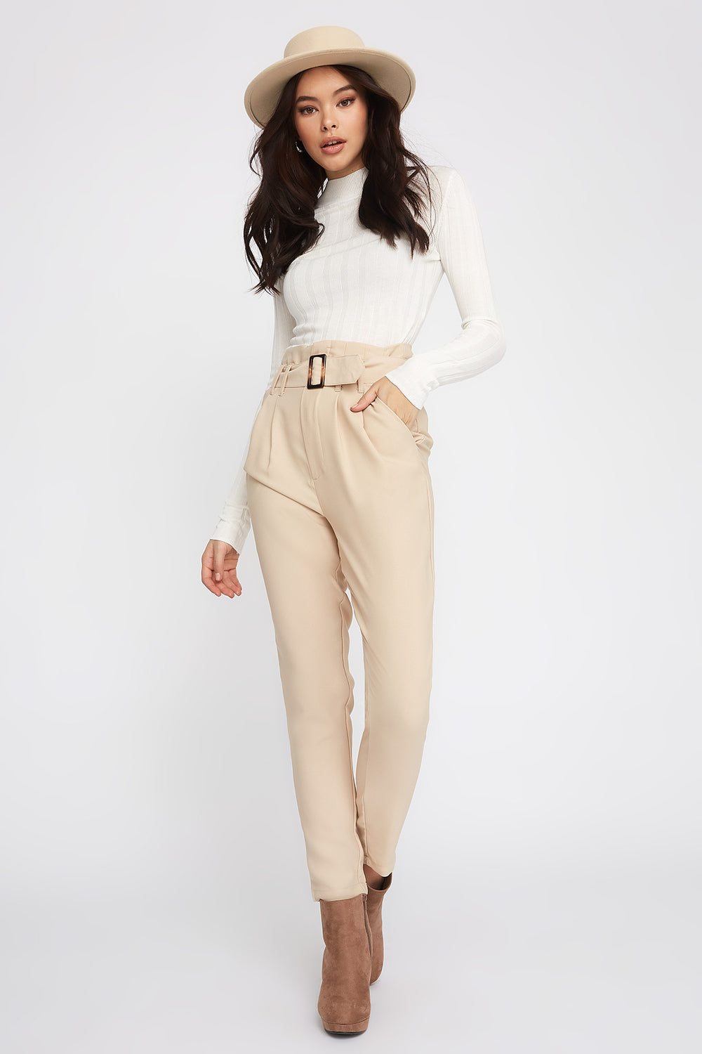 Crepe Belted Paperbag Pant Taupe