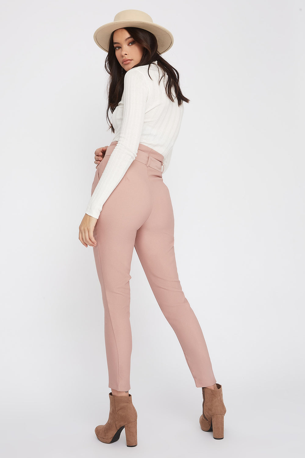 Crepe Belted Paperbag Pant Dusty Rose