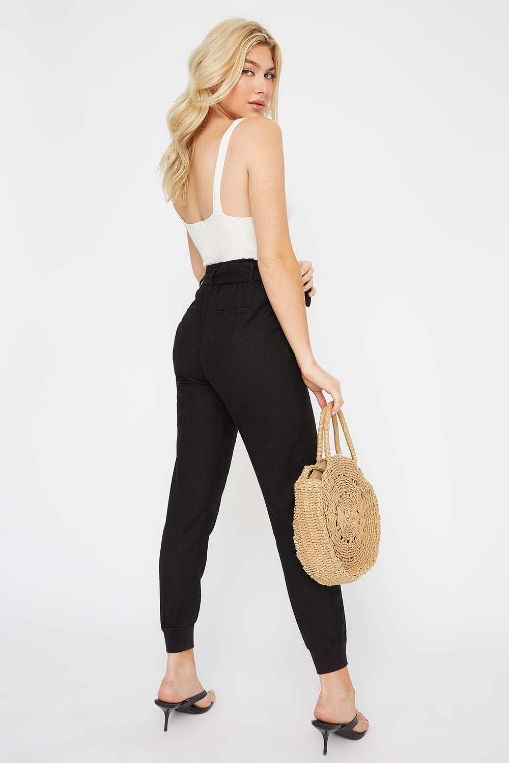 Eco-Friendly Paperbag Self Tie Linen Jogger Black