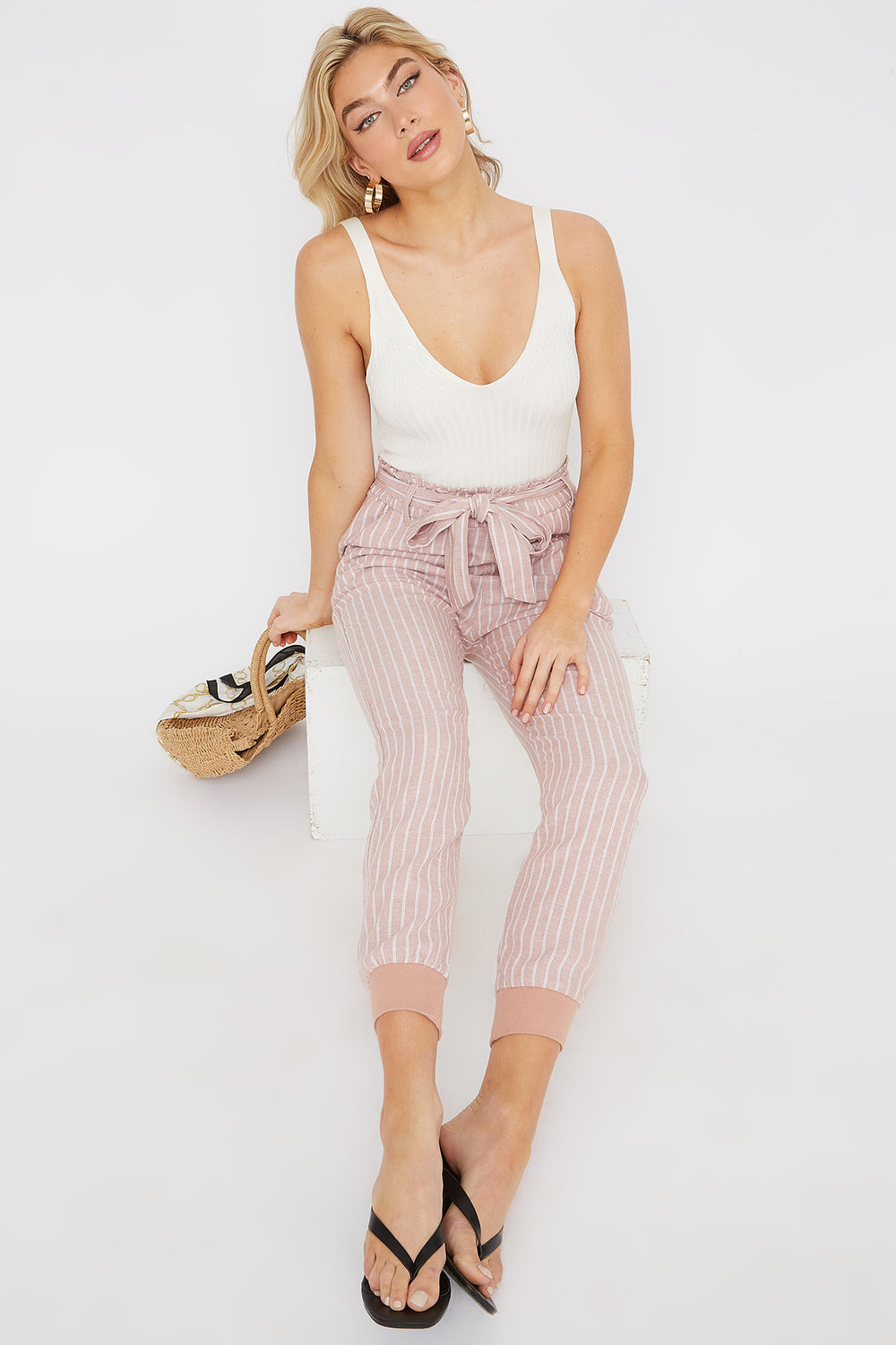 Eco-Friendly Paperbag Self Tie Linen Jogger Peach