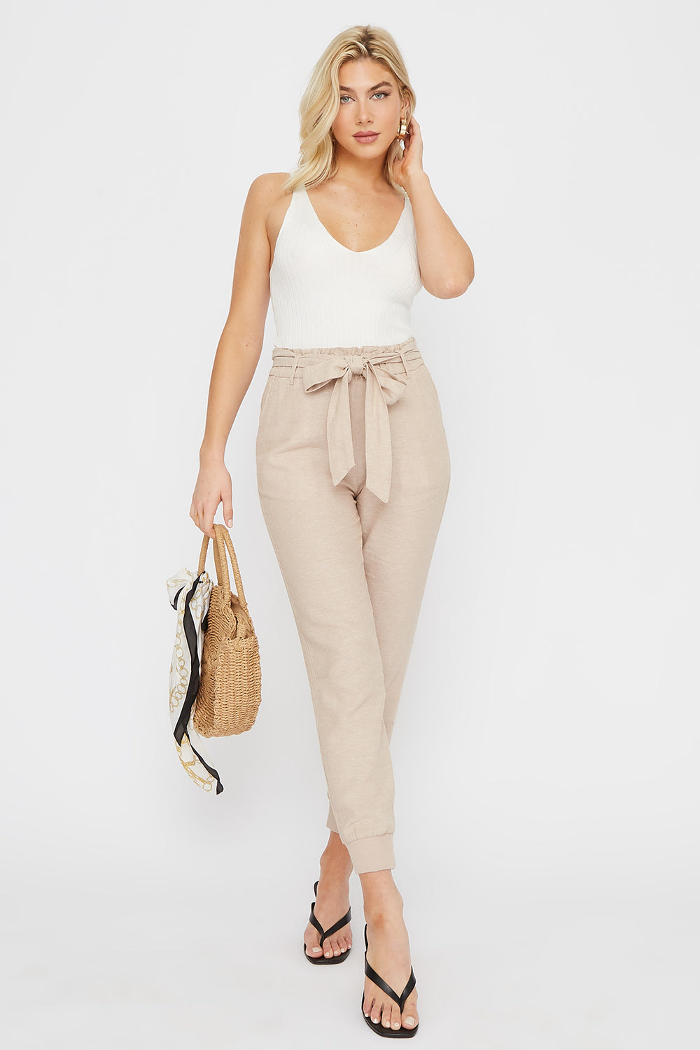 Eco-Friendly Paperbag Self Tie Linen Jogger Taupe