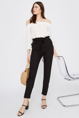 High-Rise Self-Tie Paperbag Cuffed Pant