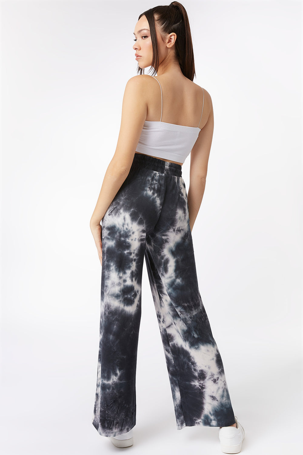 Black Tie-Dye Crepe Drawstring Palazzo Pant Black with White