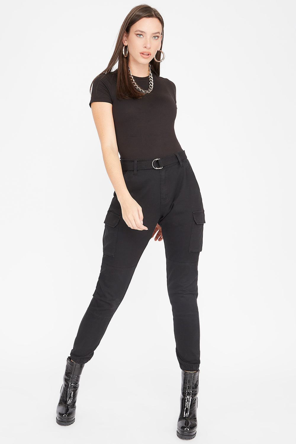 High-Rise D-Ring Belted Skinny Cargo Pant Black