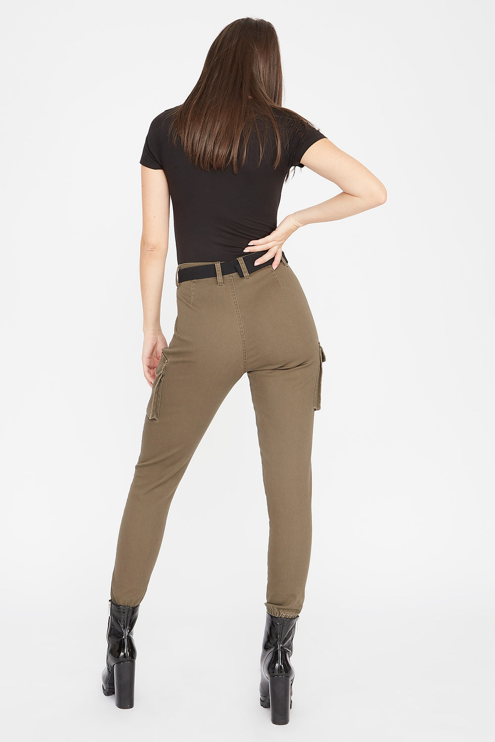High-Rise D-Ring Belted Skinny Cargo Pant Dark Green