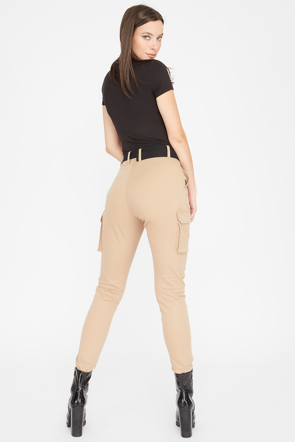 High-Rise D-Ring Belted Skinny Cargo Pant Khaki