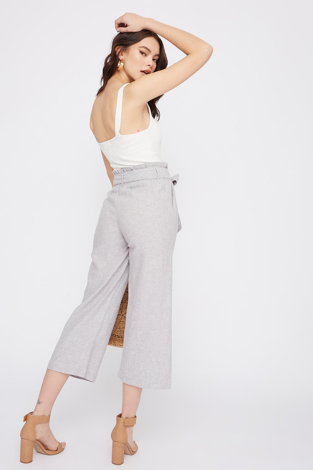 Linen High-Rise Paperbag Belted Culotte Pant Heather Grey