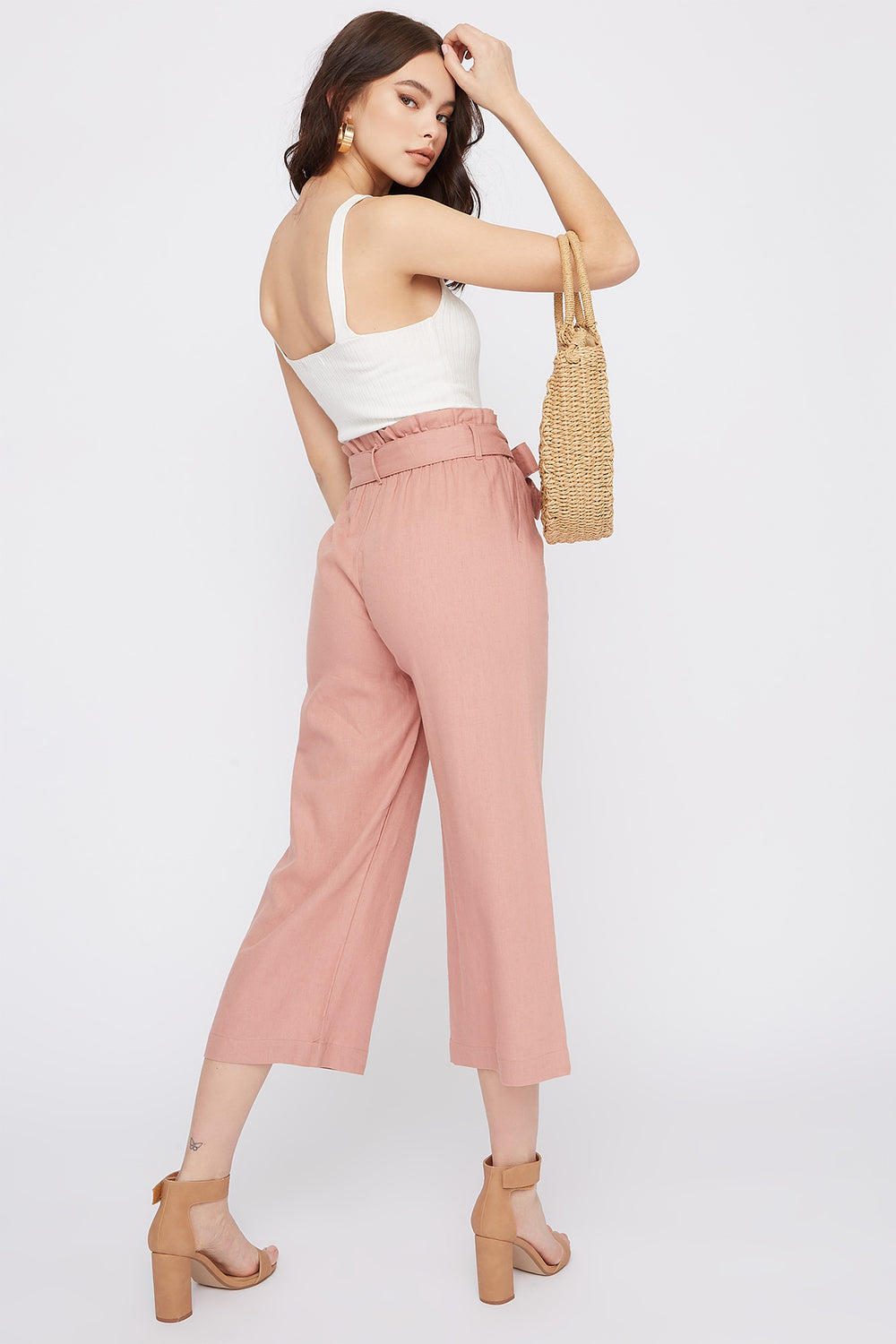 Linen High-Rise Paperbag Belted Culotte Pant Mauve
