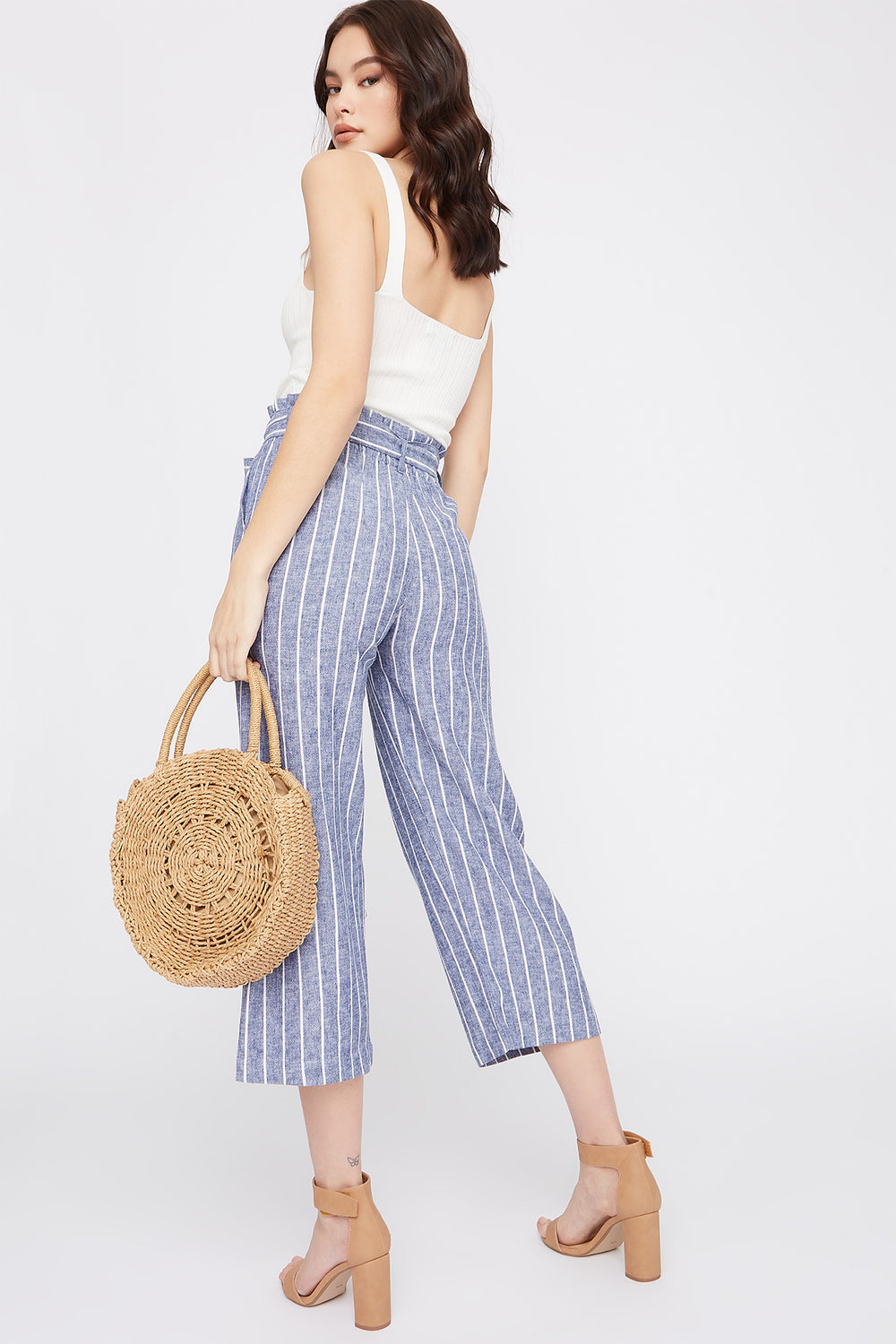 Linen High-Rise Paperbag Belted Culotte Pant Deep Blue