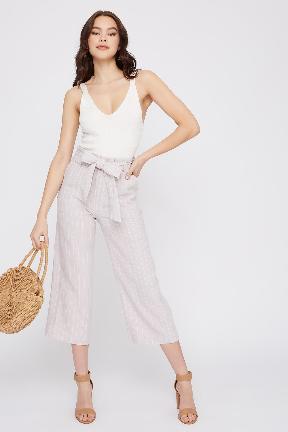 Linen High-Rise Paperbag Belted Culotte Pant Pacific Blue