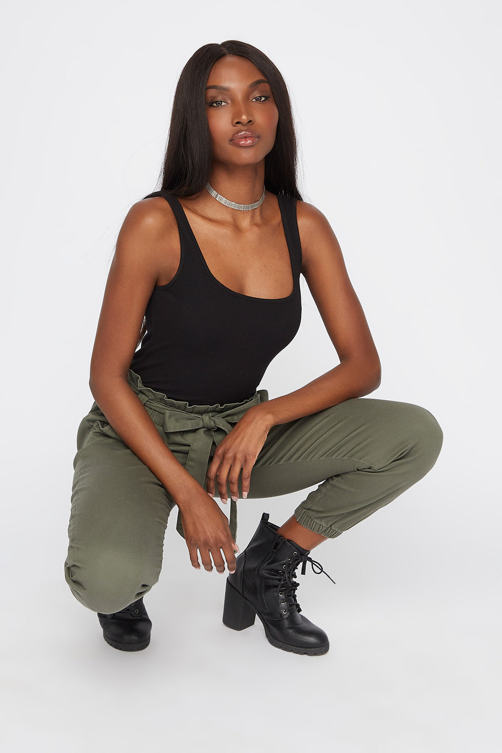 Twill Paperbag Self Tie Jogger Dark Green