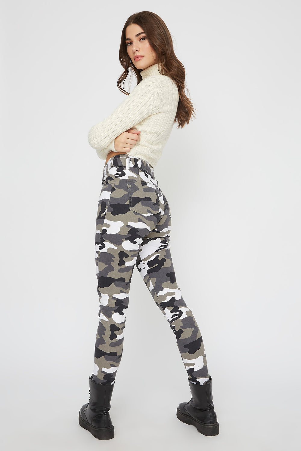 Paperbag D-Ring Belted Skinny Pant Clear