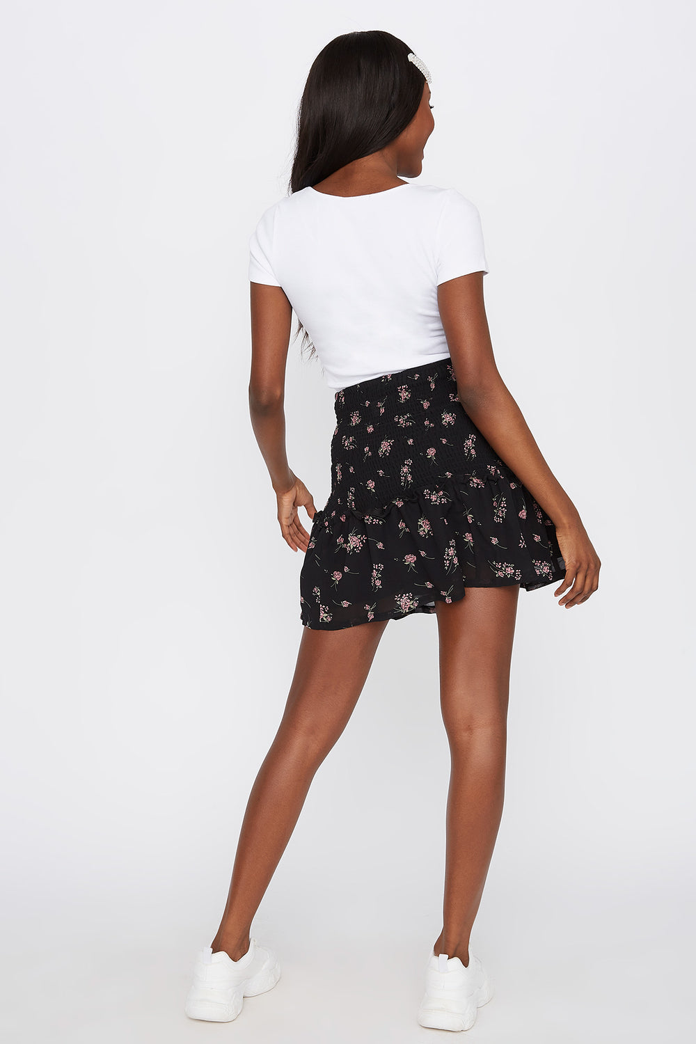 Smocked Floral Mini Skirt Black