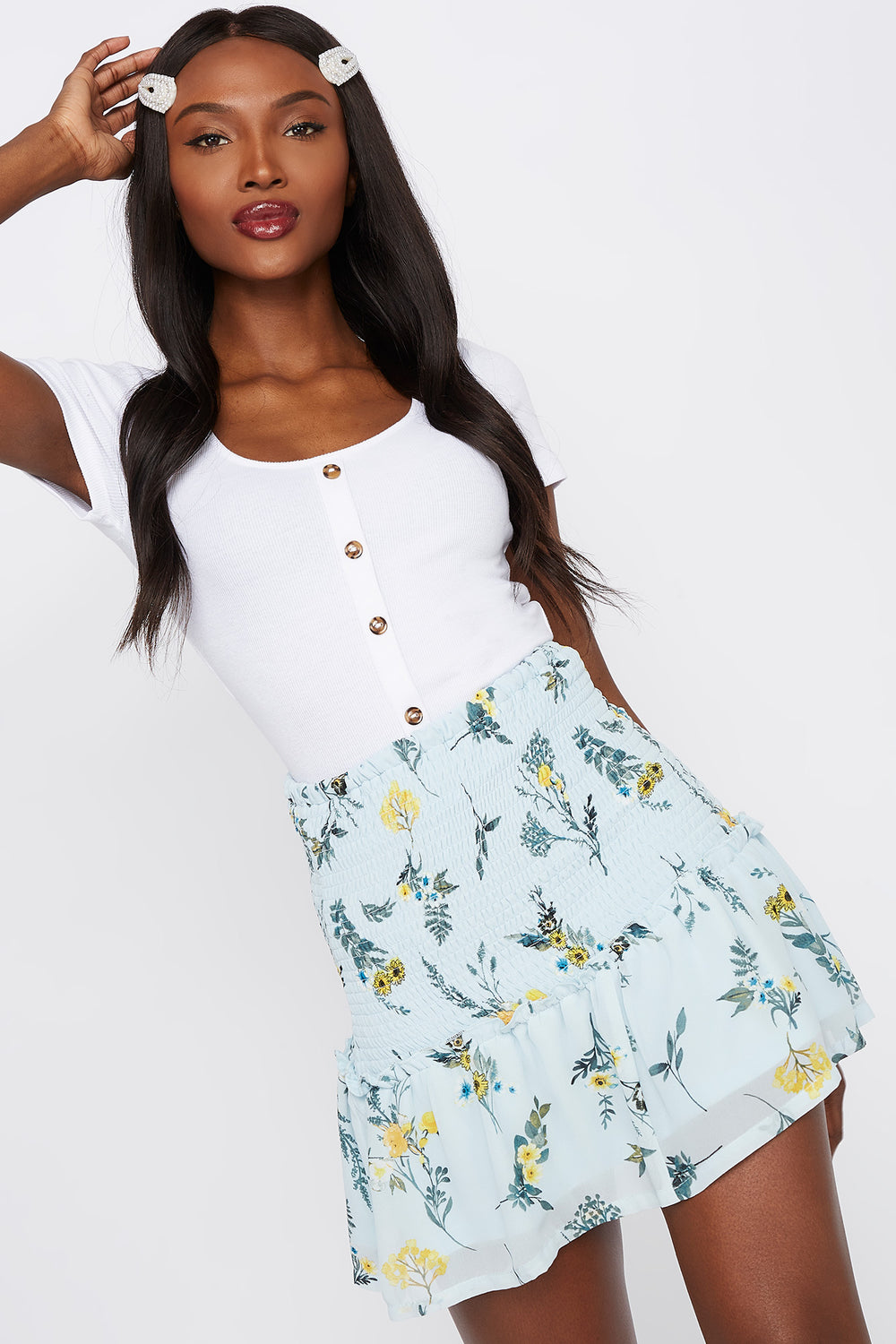 Smocked Floral Mini Skirt Navy
