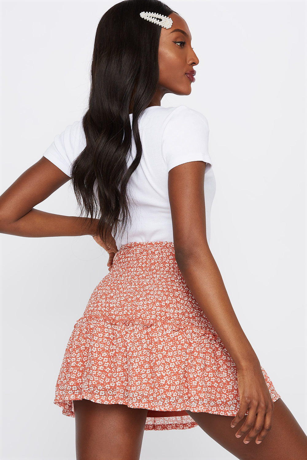 Smocked Floral Mini Skirt Rust