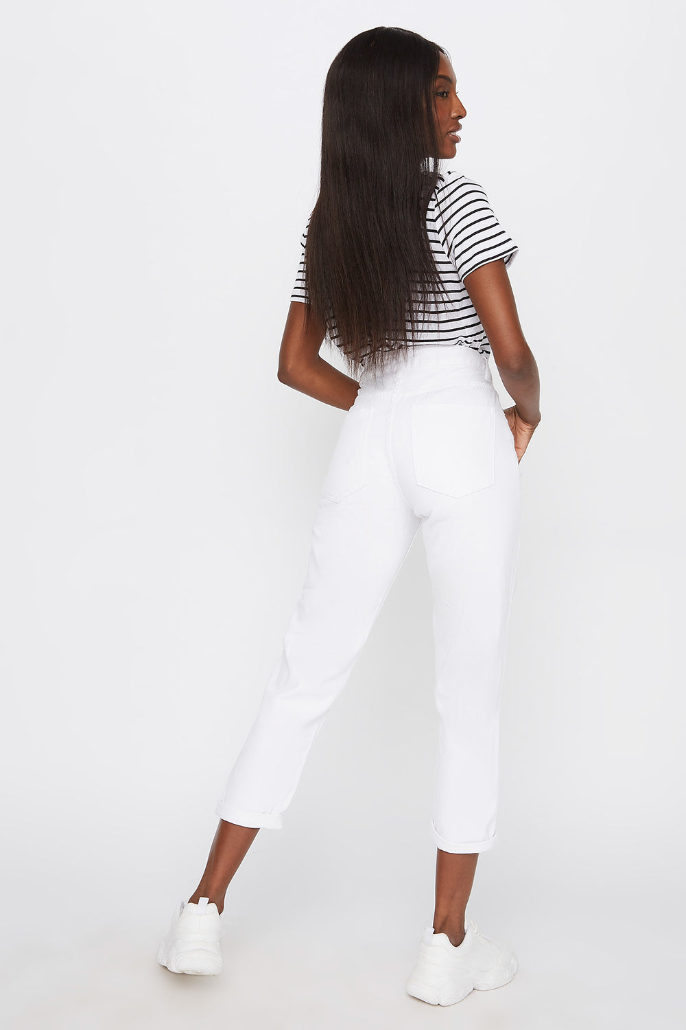 High-Rise Distressed Boyfriend Jean White
