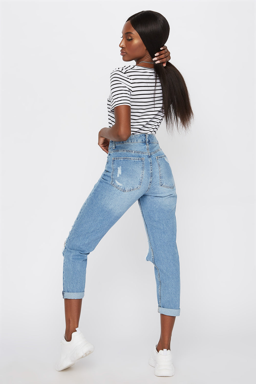 High-Rise Distressed Boyfriend Jean Medium Blue