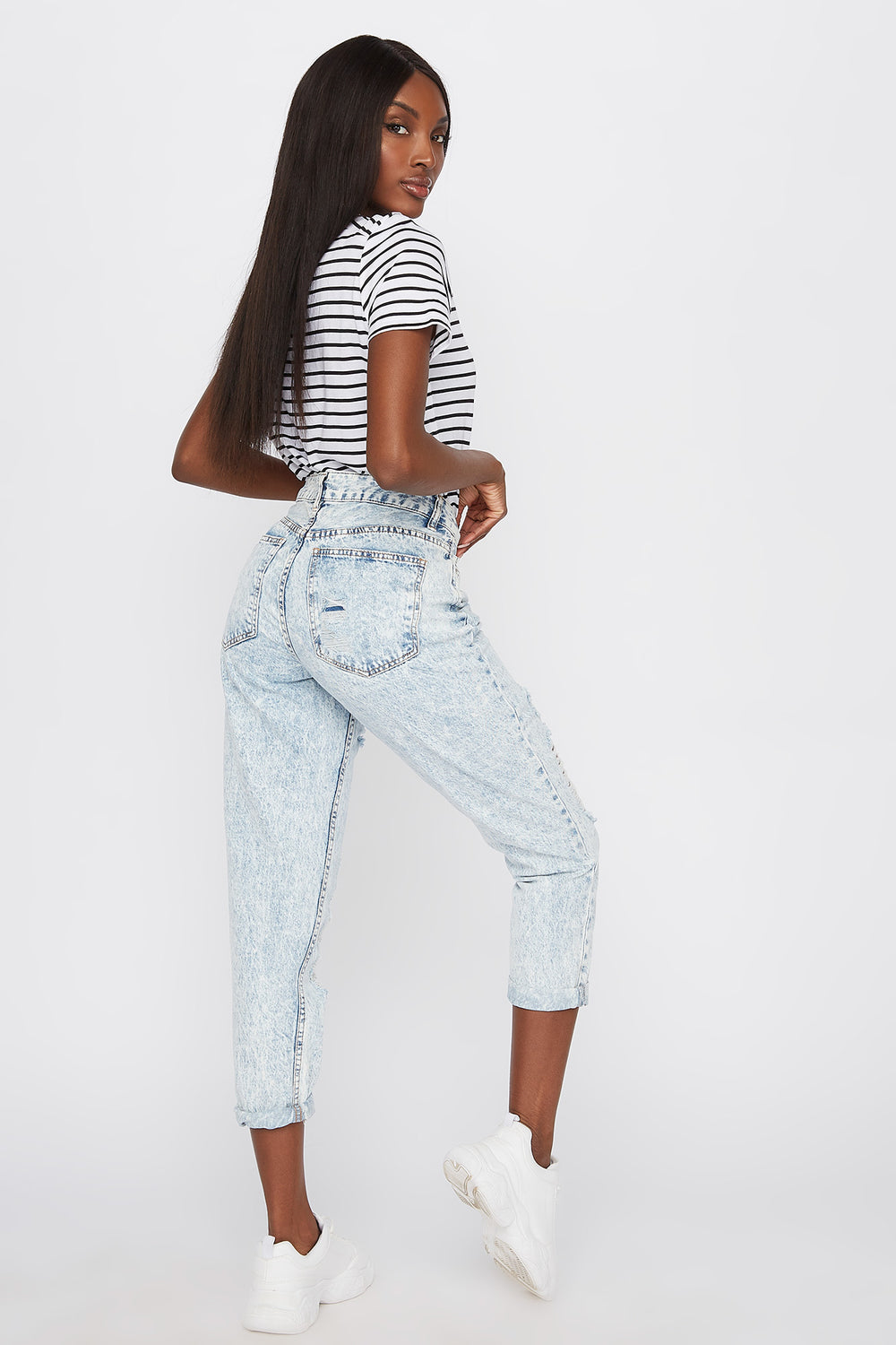 High-Rise Distressed Boyfriend Jean Sky Blue