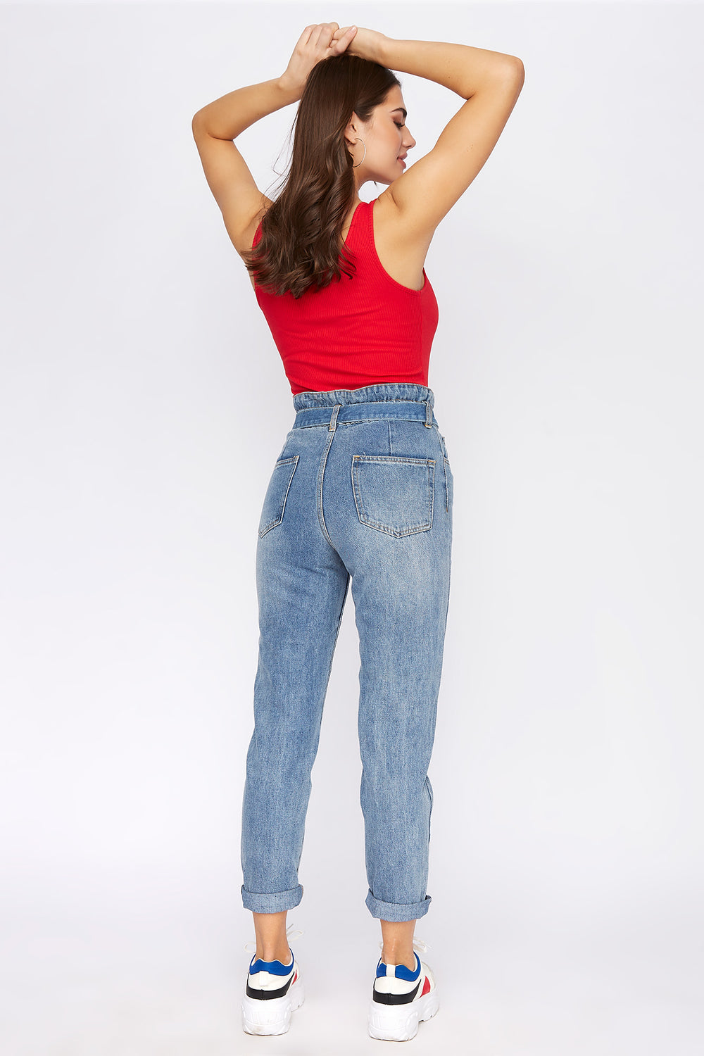 High-Rise Self-Tie Paperbag Waist Jean Medium Blue