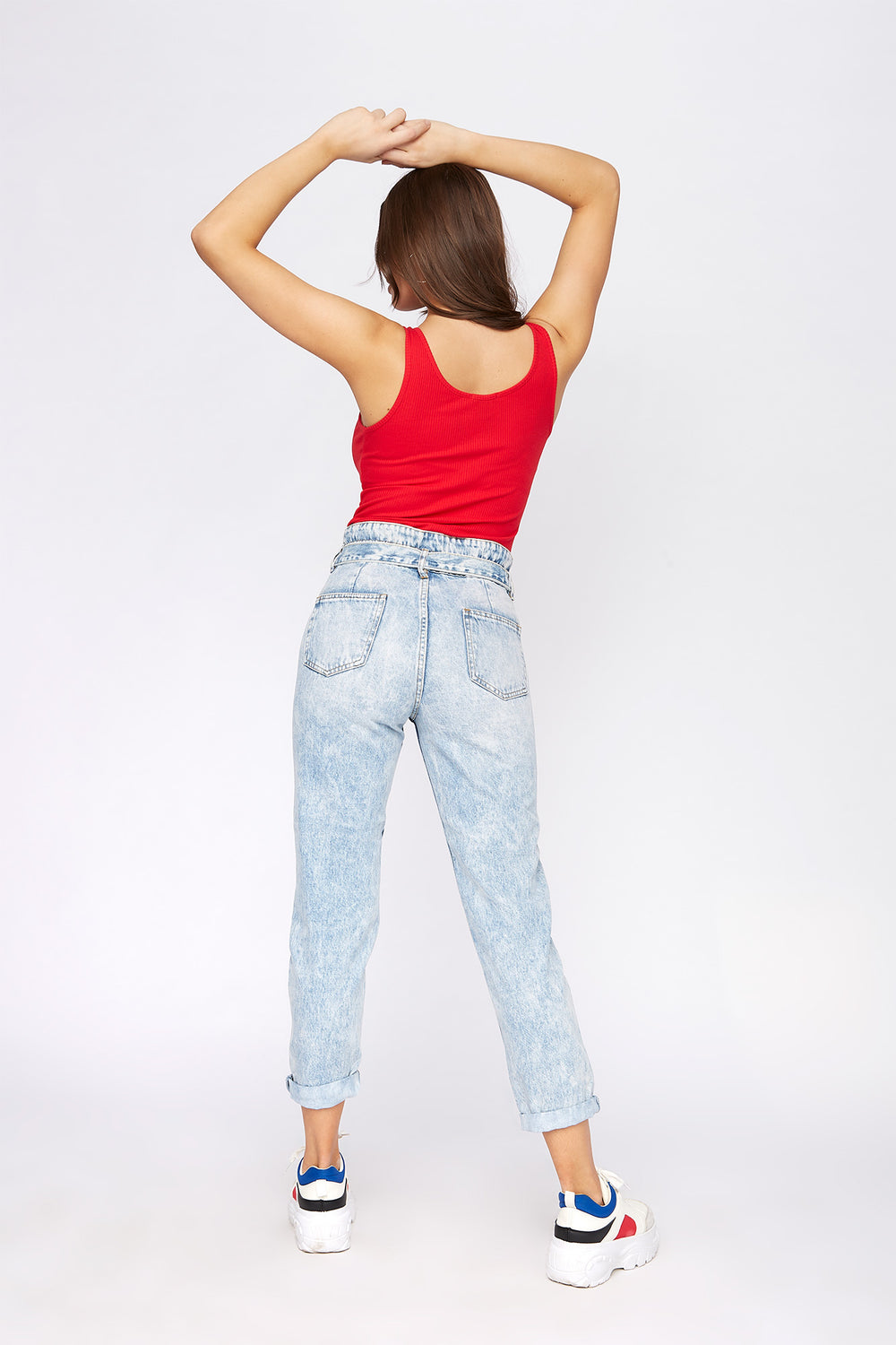 High-Rise Self-Tie Paperbag Waist Jean Light Blue