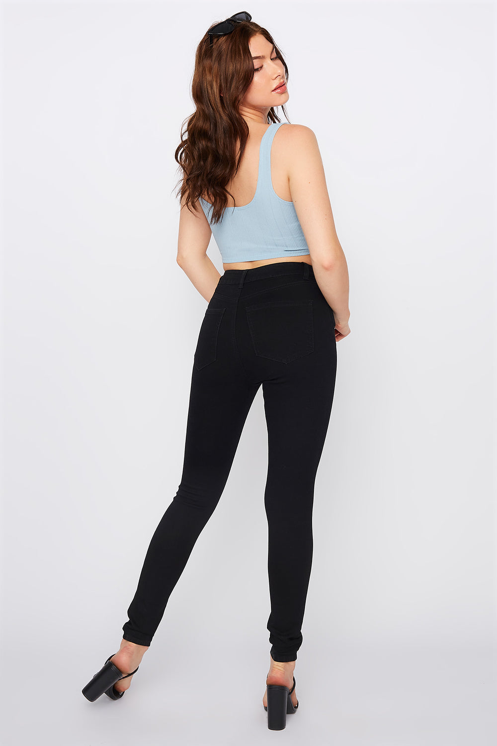 Refuge Miami High-Rise Black Distressed Skinny Jean Black