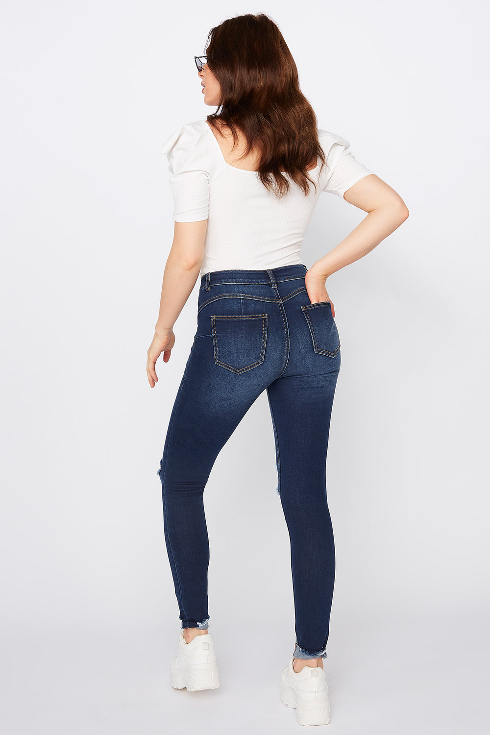 Refuge Rio Dark Wash Distressed Mid-Rise Push Up Jean Dark Blue