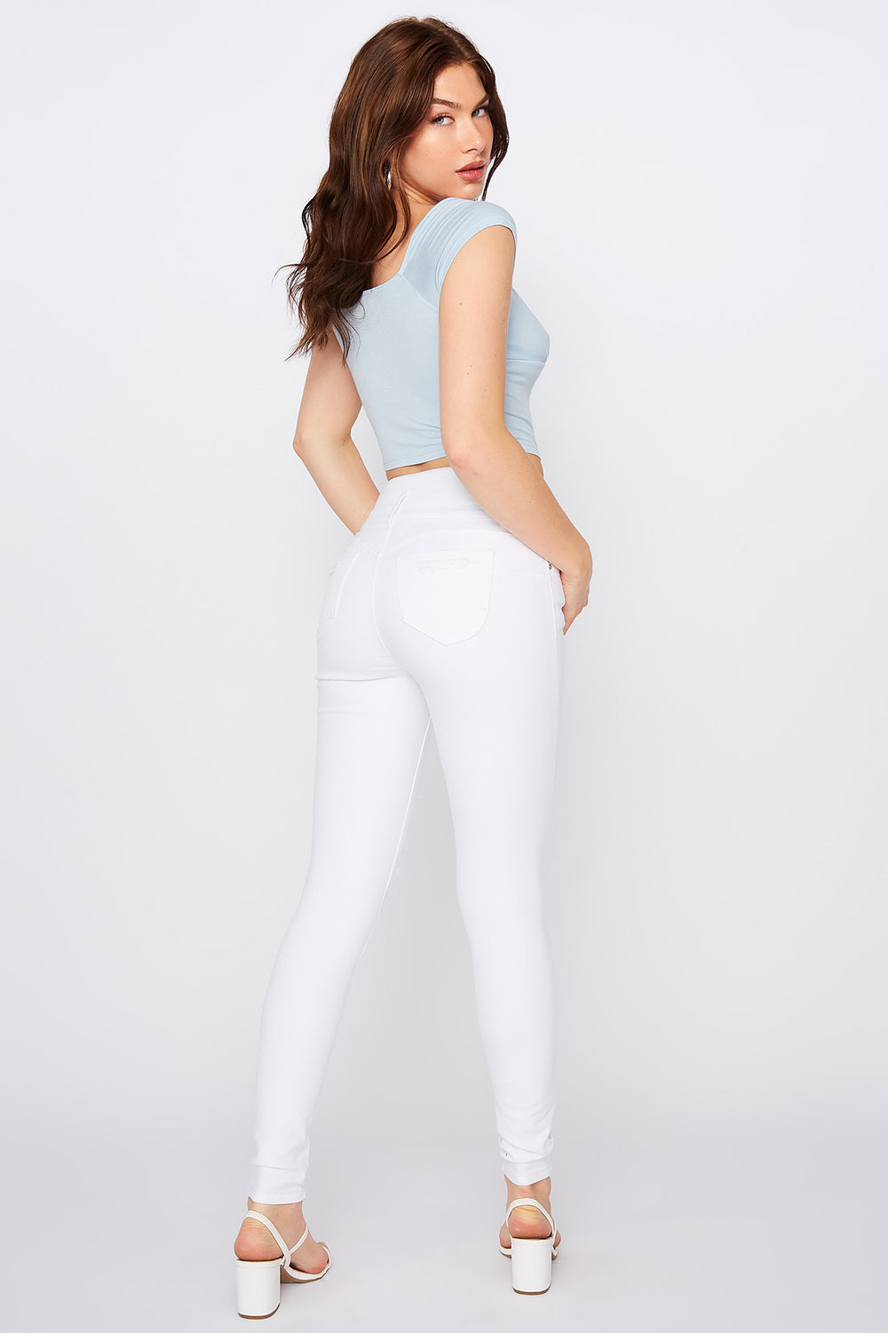 Refuge Ibiza Ultra High-Rise Push Up White Distressed Jean White
