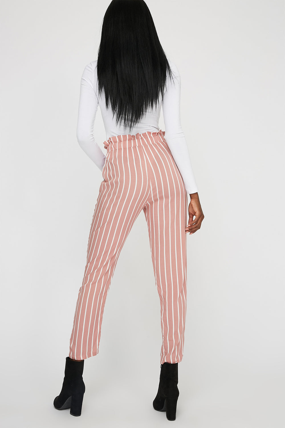 Striped High-Rise Self-Tie Belted Paperbag Pant Sky Blue