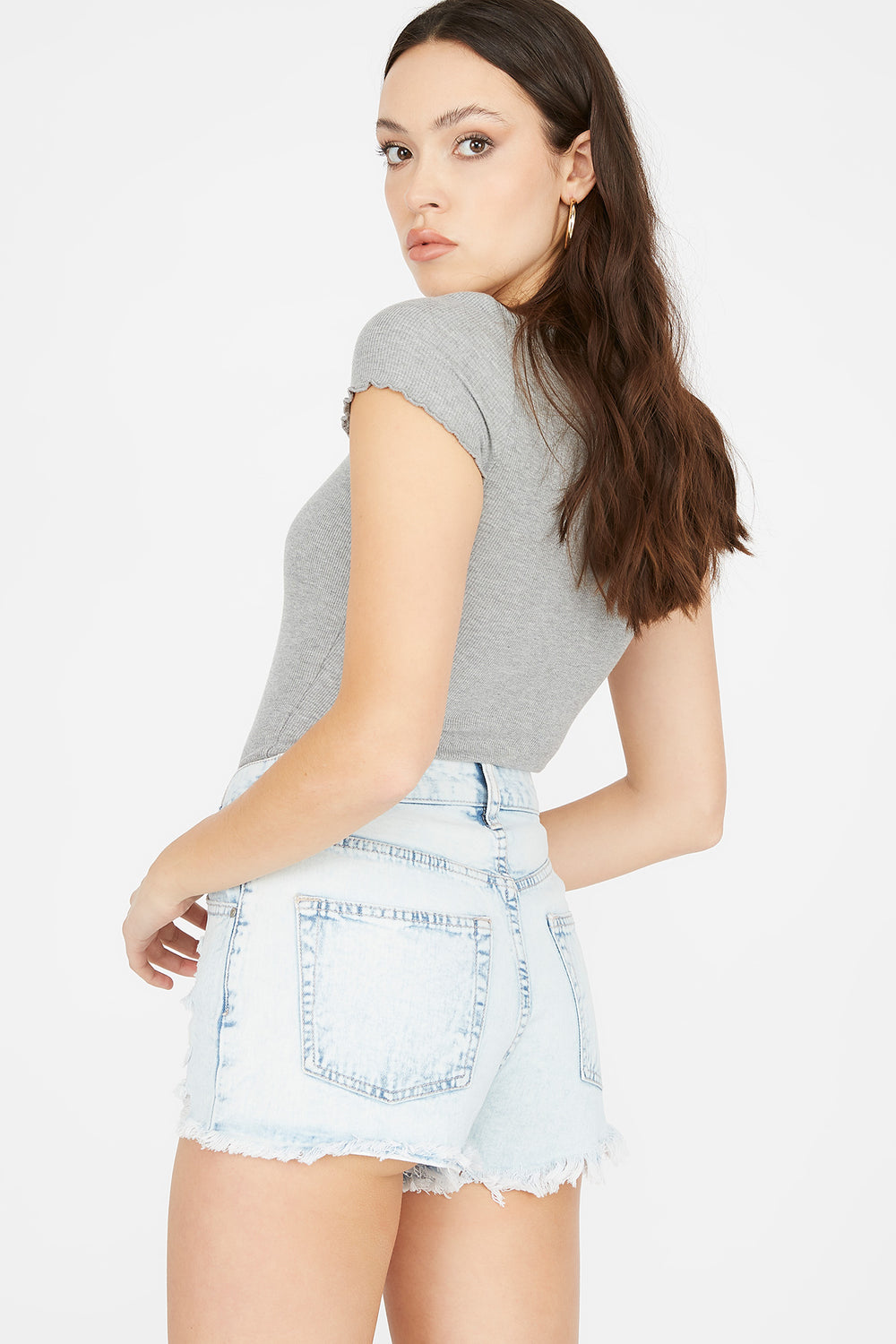 Refuge Chelsea High-Rise Light Wash Distressed Denim Short Light Denim Blue