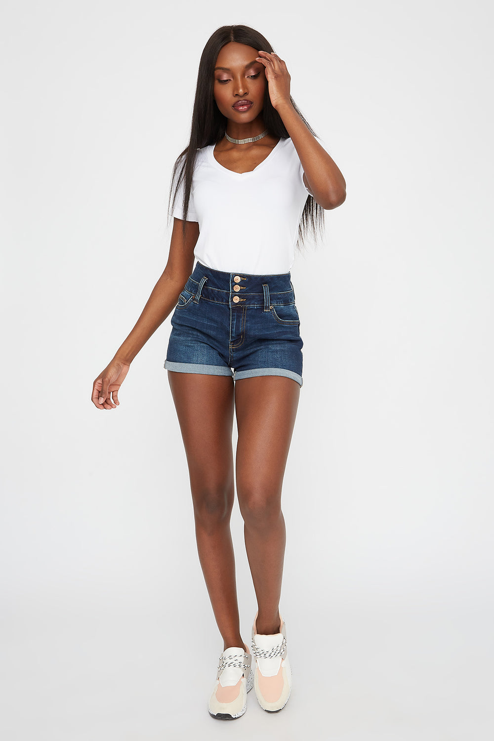 3-Tier High-Rise Push-Up Dark Wash Denim Short Denim Blue