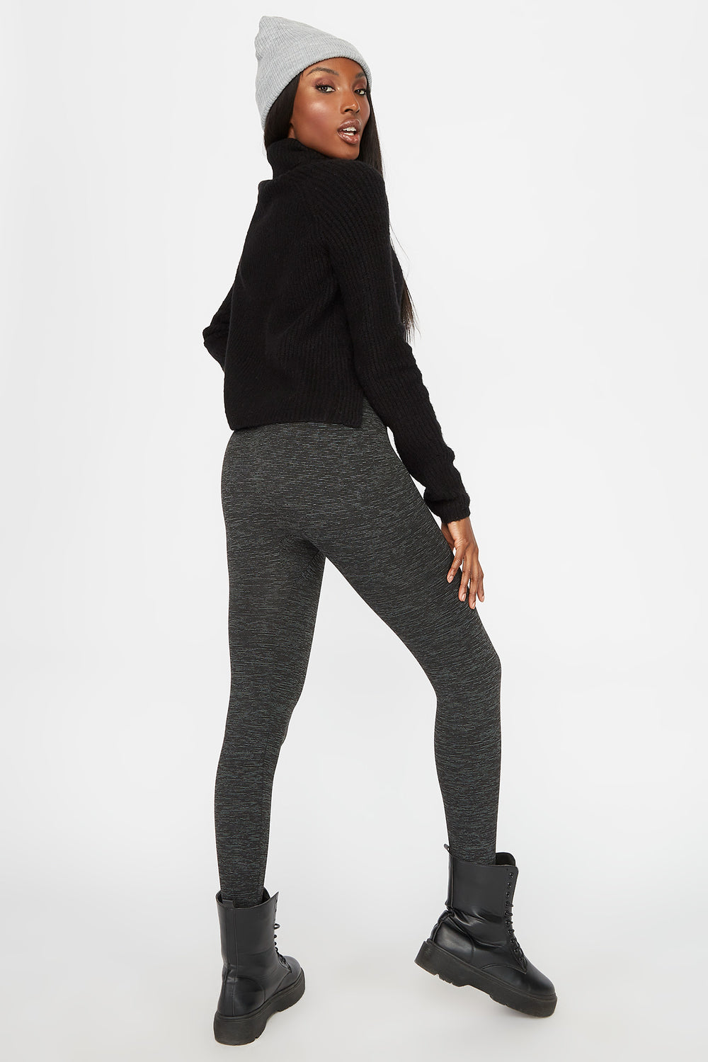 Space Dye Fleece Super Slim Legging Charcoal