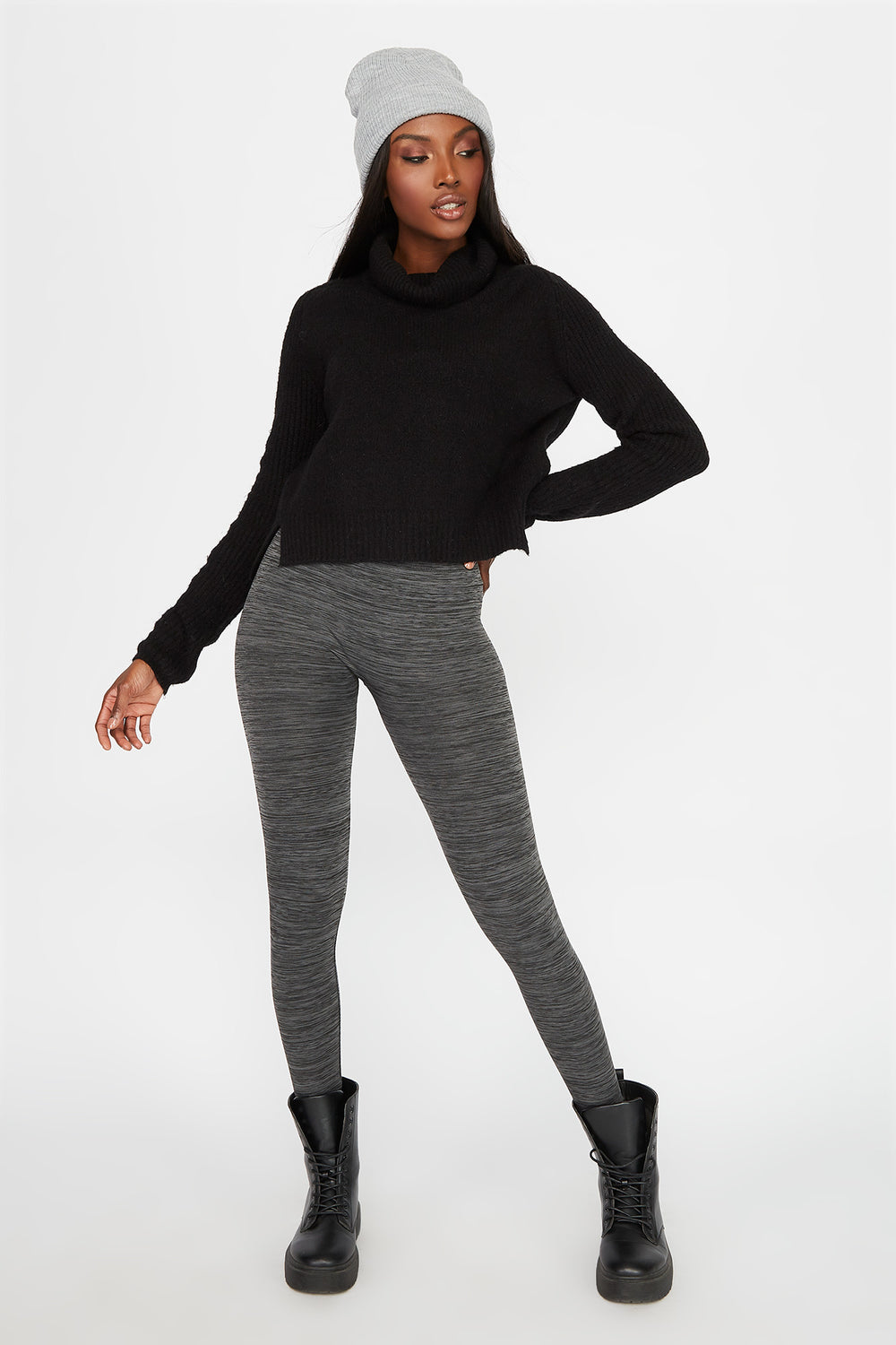 Space Dye Fleece Super Slim Legging Heather Grey