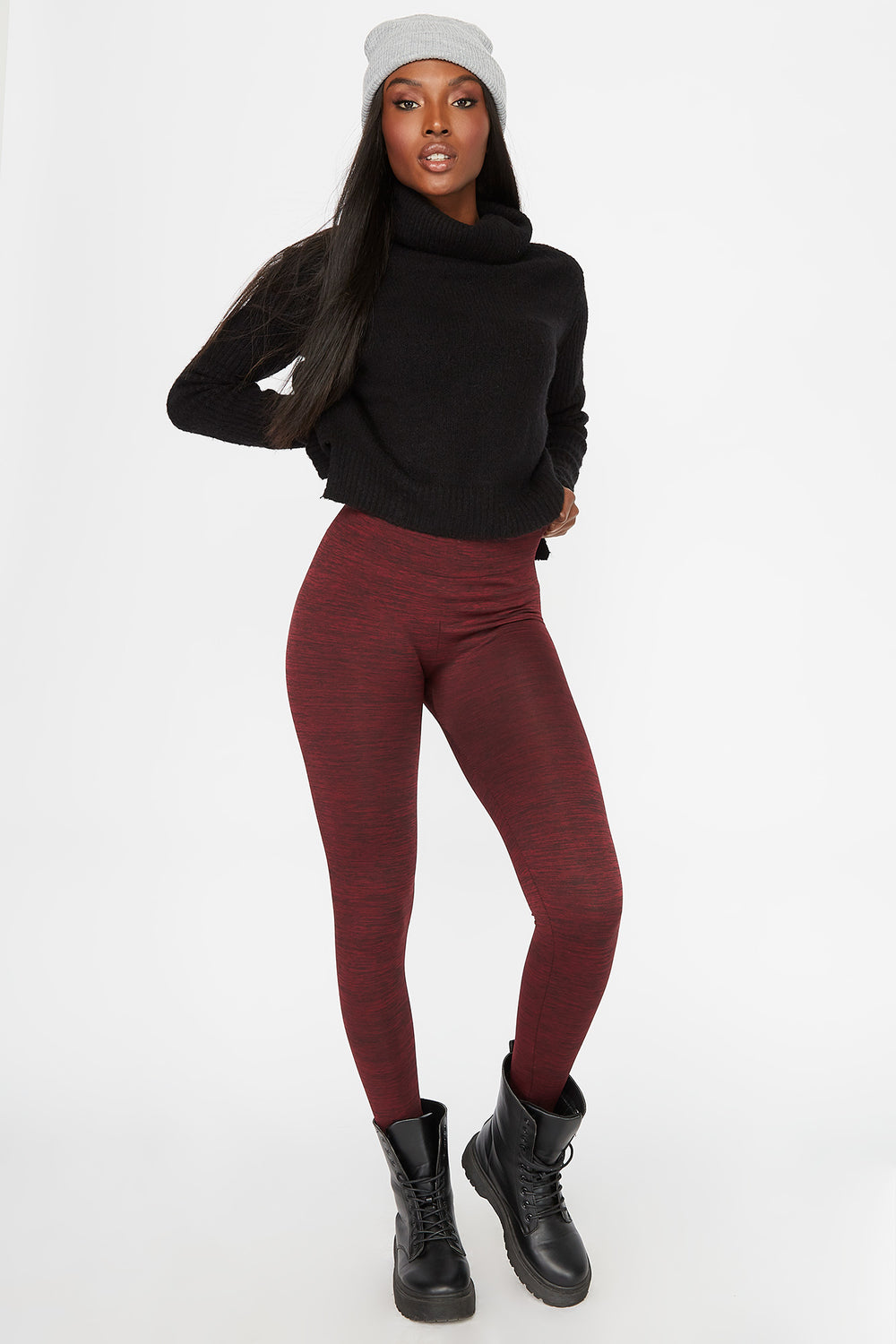 Space Dye Fleece Super Slim Legging Burgundy