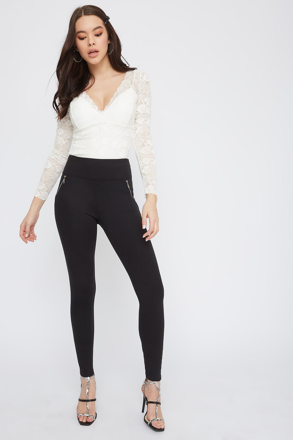 High-Rise Side Zip Legging Black