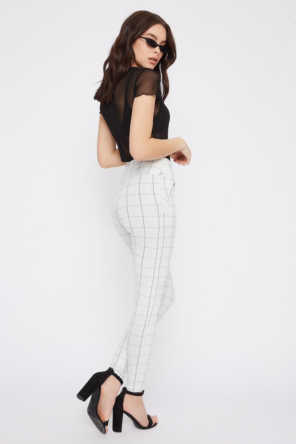 Gingham Zipper Legging White
